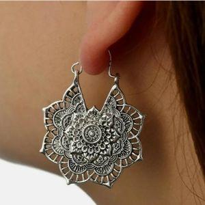 925 silver tone Floral design Dangle Earrings
